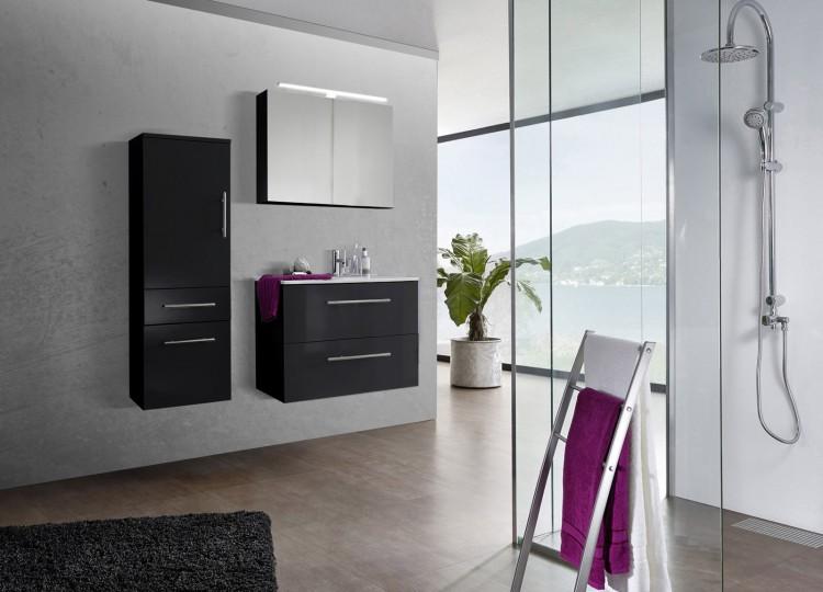sam 3tlg badezimmer set spiegelschrank schwarz 80 cm verena auf lager produktfoto. Black Bedroom Furniture Sets. Home Design Ideas