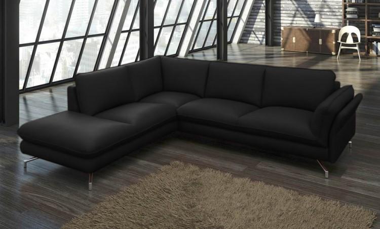 sam ecksofa schwarz polsterecke vivano 220 x 265 cm auf lager produktfoto. Black Bedroom Furniture Sets. Home Design Ideas