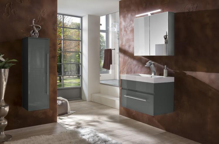 sam 3tlg badezimmer set spiegelschrank grau 80 cm lunar auf lager. Black Bedroom Furniture Sets. Home Design Ideas