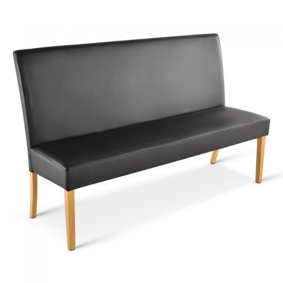 sam sitzbank sancho 140 cm recyceltes leder schwarz buche auf lager. Black Bedroom Furniture Sets. Home Design Ideas