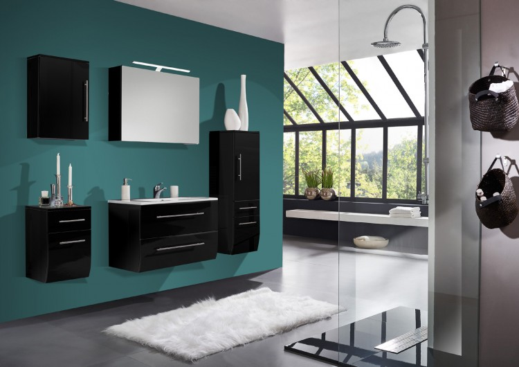 sam badm bel set 5tlg schwarz hochglanz 70cm niagara deluxe auf lager. Black Bedroom Furniture Sets. Home Design Ideas