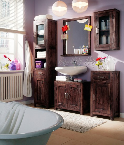 bad set timber holz akazie tabak 5tlg auf lager. Black Bedroom Furniture Sets. Home Design Ideas