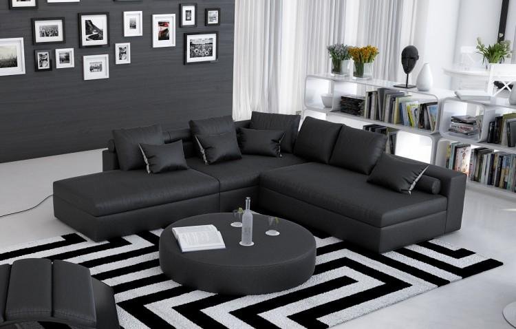 sam ecksofa schwarz polsterecke avaldo 240 x 220 cm auf lager. Black Bedroom Furniture Sets. Home Design Ideas