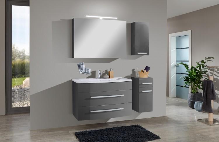 sam 4tlg badezimmer set hochglanz grau 90cm genf deluxe. Black Bedroom Furniture Sets. Home Design Ideas