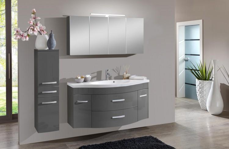 sam 3tlg badezimmer set hochglanz grau 130cm lugano bestellware produktfoto. Black Bedroom Furniture Sets. Home Design Ideas