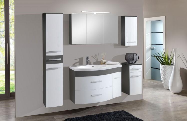 sam 5tlg badezimmer set hochglanz wei grau 110cm lugano xl auf lager produktfoto. Black Bedroom Furniture Sets. Home Design Ideas