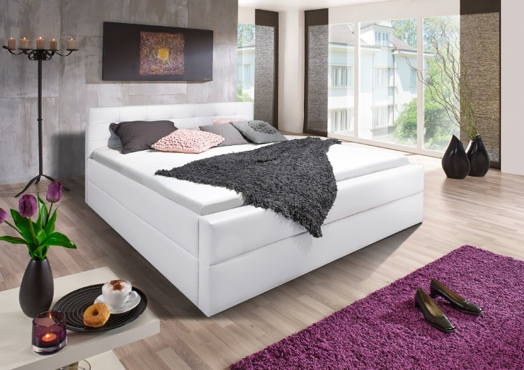 sam design boxspringbett 140 x 200 cm wei kappa auf lager. Black Bedroom Furniture Sets. Home Design Ideas