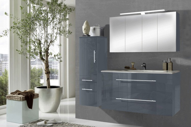 sam 3tlg badezimmer set grau 120 cm rom spiegelschrank auf lager produktfoto. Black Bedroom Furniture Sets. Home Design Ideas