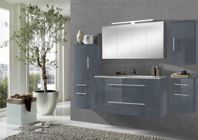 sam 5tlg badezimmer set grau 120 cm rom spiegelschrank. Black Bedroom Furniture Sets. Home Design Ideas