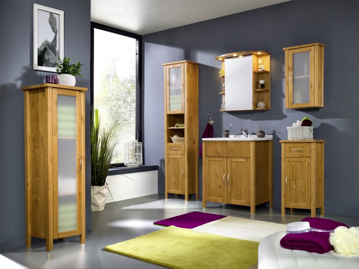 sam bad set honig massiv kiefer gewachst 5tlg venedig hoch. Black Bedroom Furniture Sets. Home Design Ideas