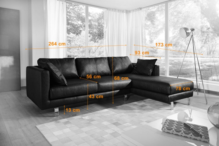 Sam ecksofa schwarz belfast polsterecke 264 x 173 cm for Ecksofa trends