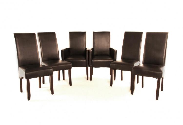 sam esszimmer stuhlset recyceltes leder braun kolonial 4 2. Black Bedroom Furniture Sets. Home Design Ideas