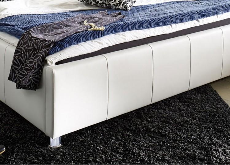 sam polster bett 100 x 200 cm wei kira g nstig. Black Bedroom Furniture Sets. Home Design Ideas