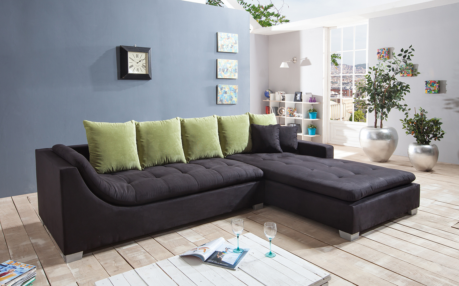 sam ecksofa stoff schwarz sofa villa 305 x 200 cm auf lager 50 rabatt. Black Bedroom Furniture Sets. Home Design Ideas