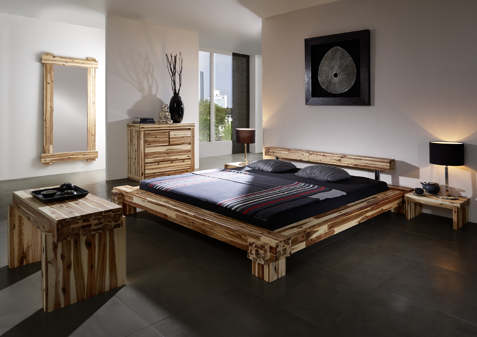 sam massives holzbett akazie 140 x 200 cm casanova auf lager. Black Bedroom Furniture Sets. Home Design Ideas