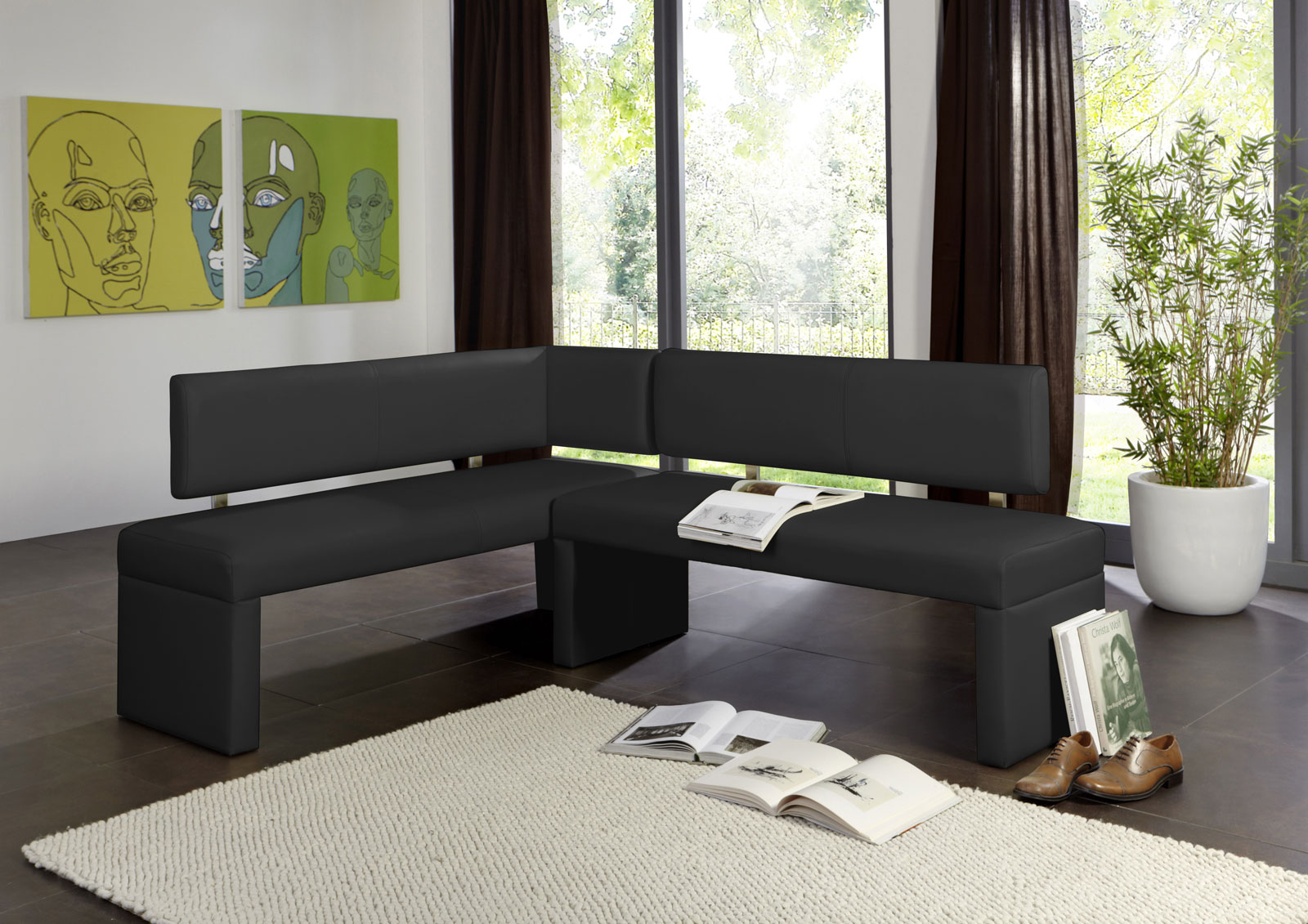 sam eckbank recyceltes leder 195 x 152 cm schwarz sofia. Black Bedroom Furniture Sets. Home Design Ideas