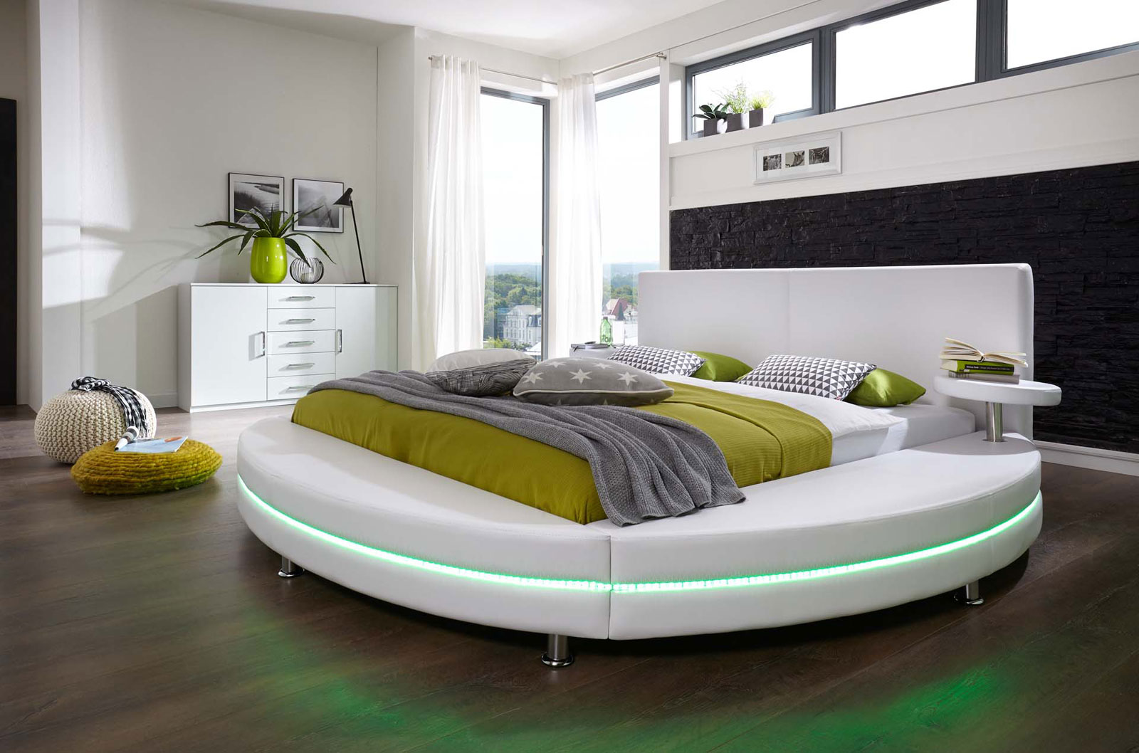 sam rundbett mit led 180 x 200 cm abgesteppt wei gallo bestellware. Black Bedroom Furniture Sets. Home Design Ideas