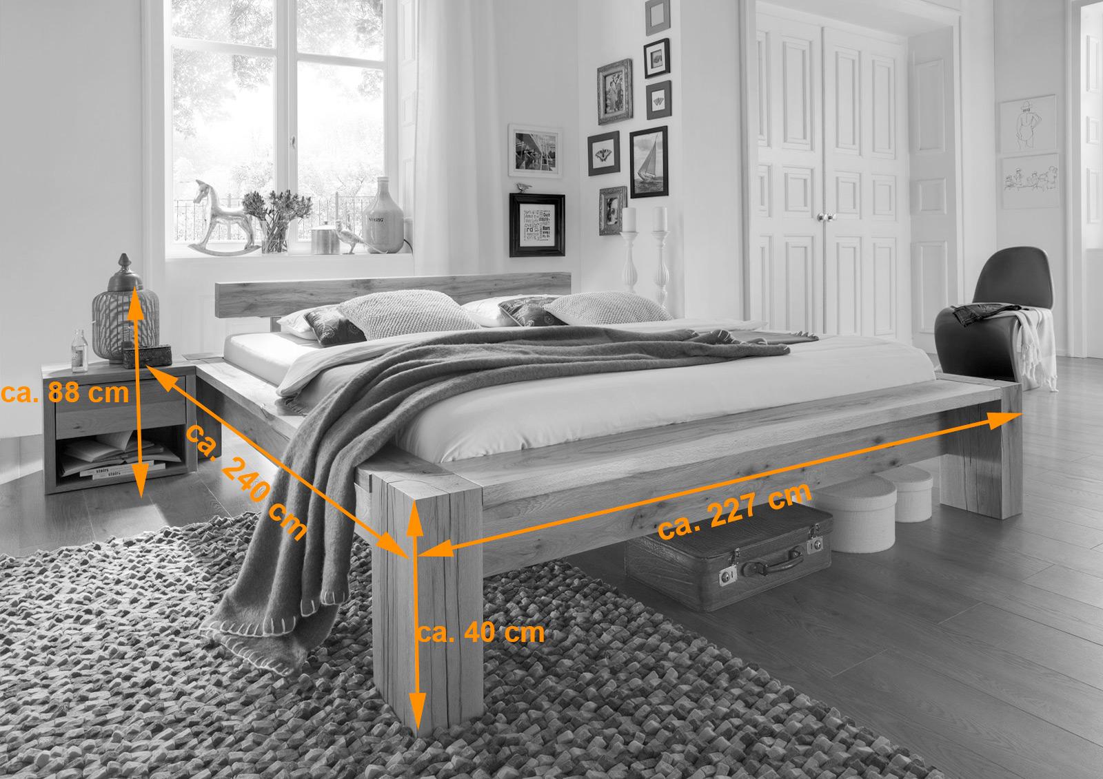 sam balkenbett massiv carla eiche 200x200 cm balken auf. Black Bedroom Furniture Sets. Home Design Ideas
