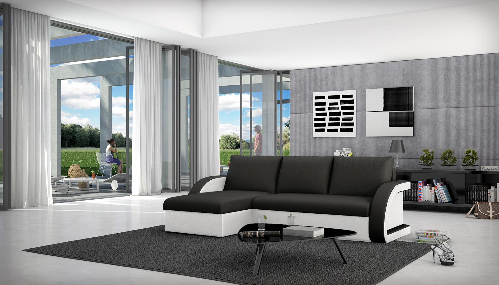 sam ecksofa schwarz wei schlafsofa antigona 145 x 238 cm auf lager. Black Bedroom Furniture Sets. Home Design Ideas