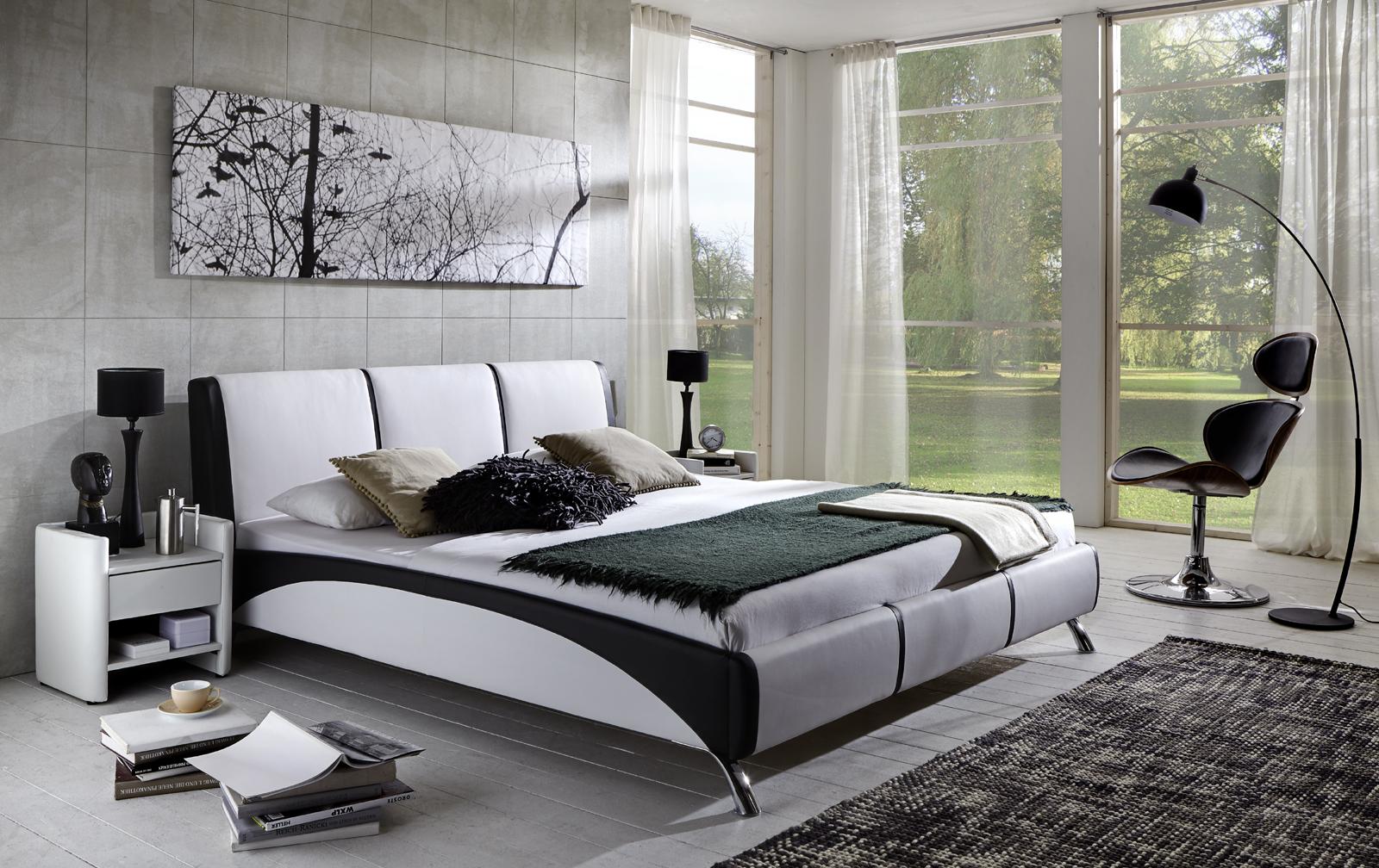 sam polsterbett 160cm wei schwarz soundsystemauswahl fun. Black Bedroom Furniture Sets. Home Design Ideas