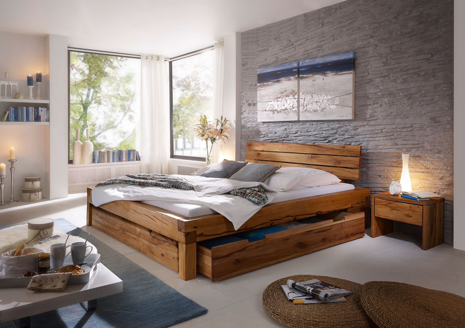 sam balkenbett wildeiche benjamin massiv mit bettkasten. Black Bedroom Furniture Sets. Home Design Ideas