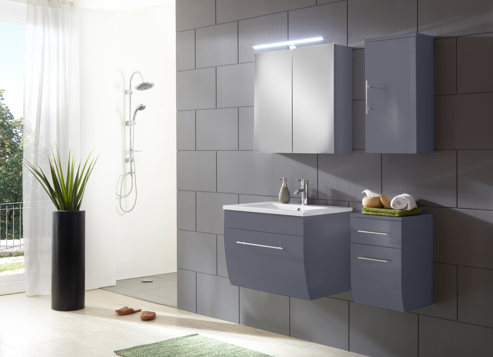 sam badezimmerm bel zagona 4tlg grau hochglanz 70 cm auf lager. Black Bedroom Furniture Sets. Home Design Ideas