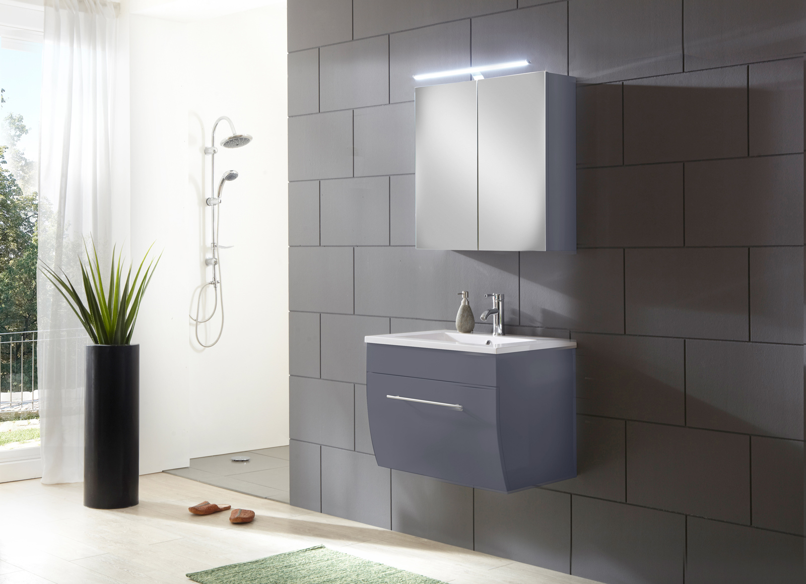 sam badezimmerm bel zagona 2tlg grau hochglanz 70 cm auf. Black Bedroom Furniture Sets. Home Design Ideas