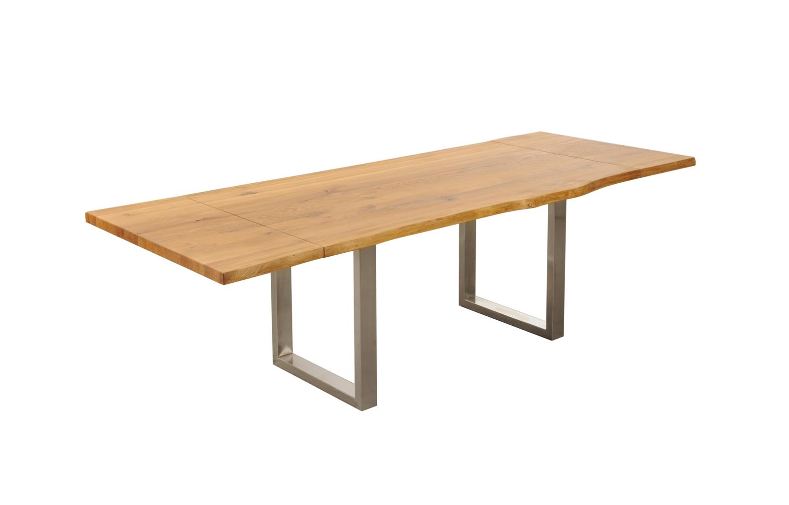 Sam tisch ansteckplatte wildeiche mit edelstahloptik for Tisch wildeiche