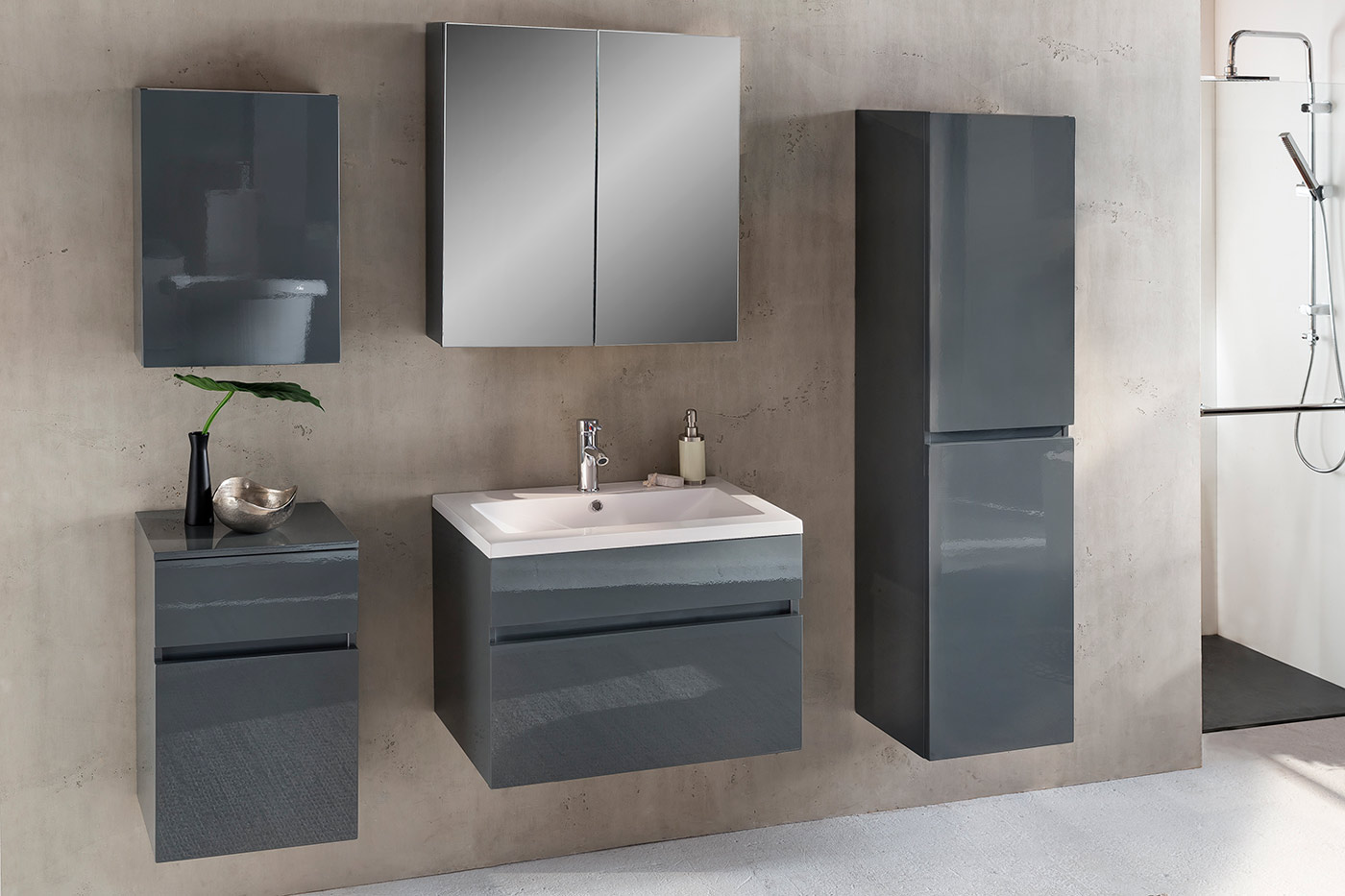 sam badezimmerm bel parma 5tlg grau hochglanz 70 cm auf. Black Bedroom Furniture Sets. Home Design Ideas