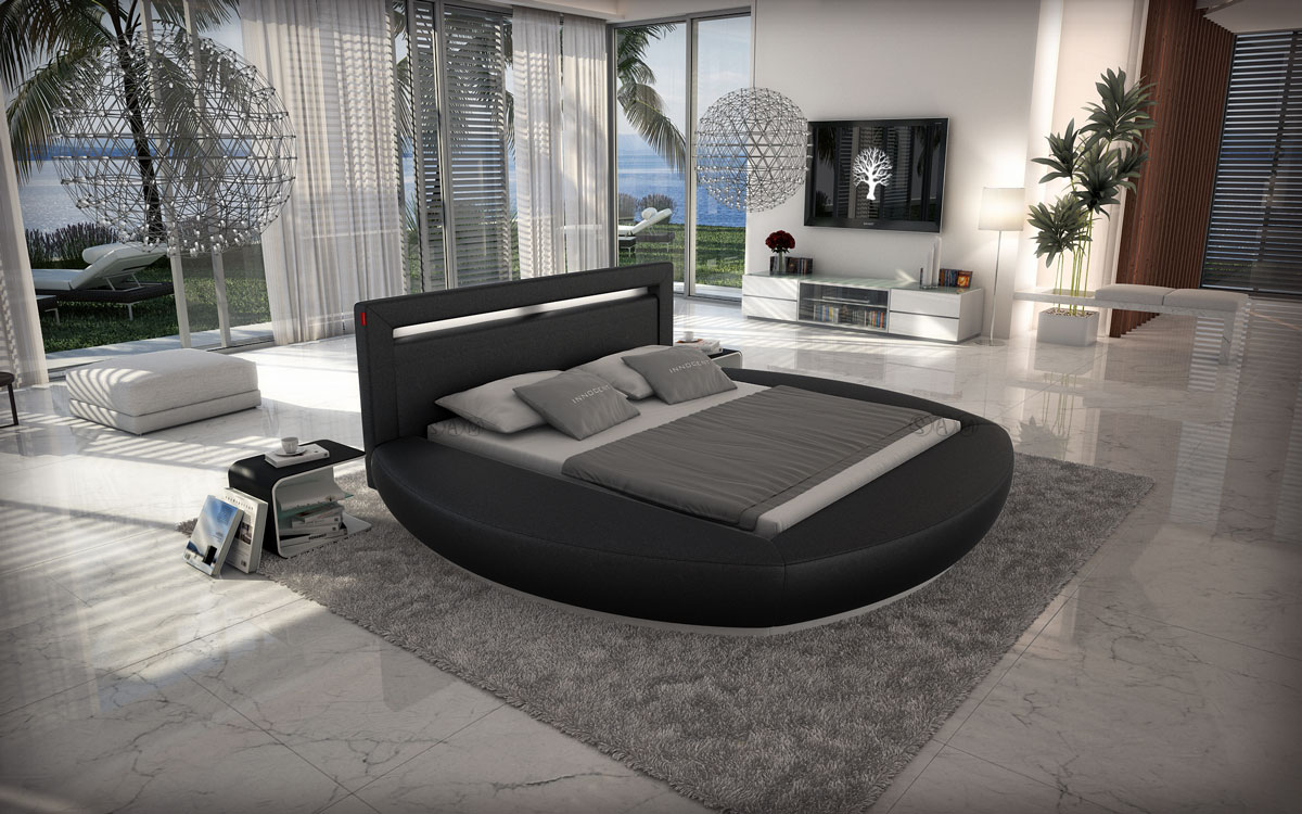 sam innocent rundbett 180 cm schwarz beleuchtung riva demn chst. Black Bedroom Furniture Sets. Home Design Ideas