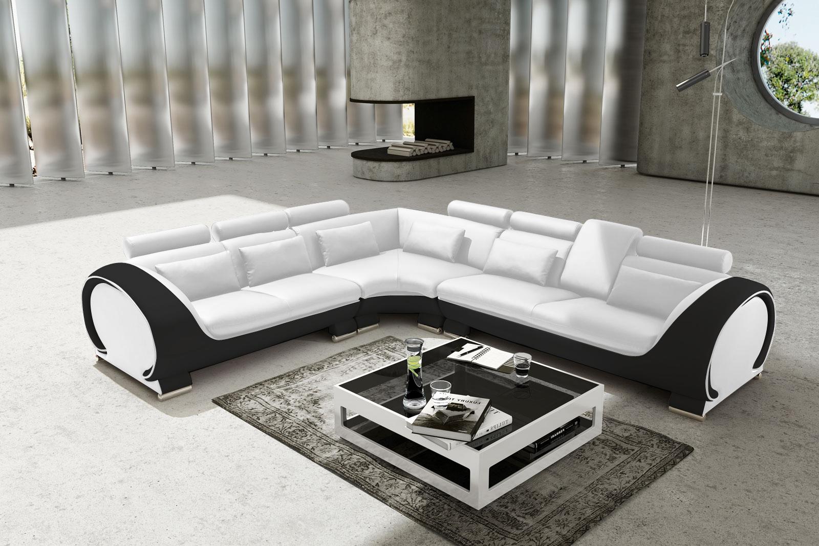 sam ecksofa wei schwarz vigo combi 4 couch 254 x 286 cm auf lager. Black Bedroom Furniture Sets. Home Design Ideas