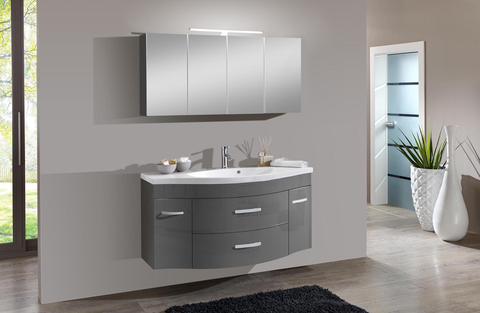 sam 2tlg badezimmer set hochglanz grau 130cm lugano. Black Bedroom Furniture Sets. Home Design Ideas