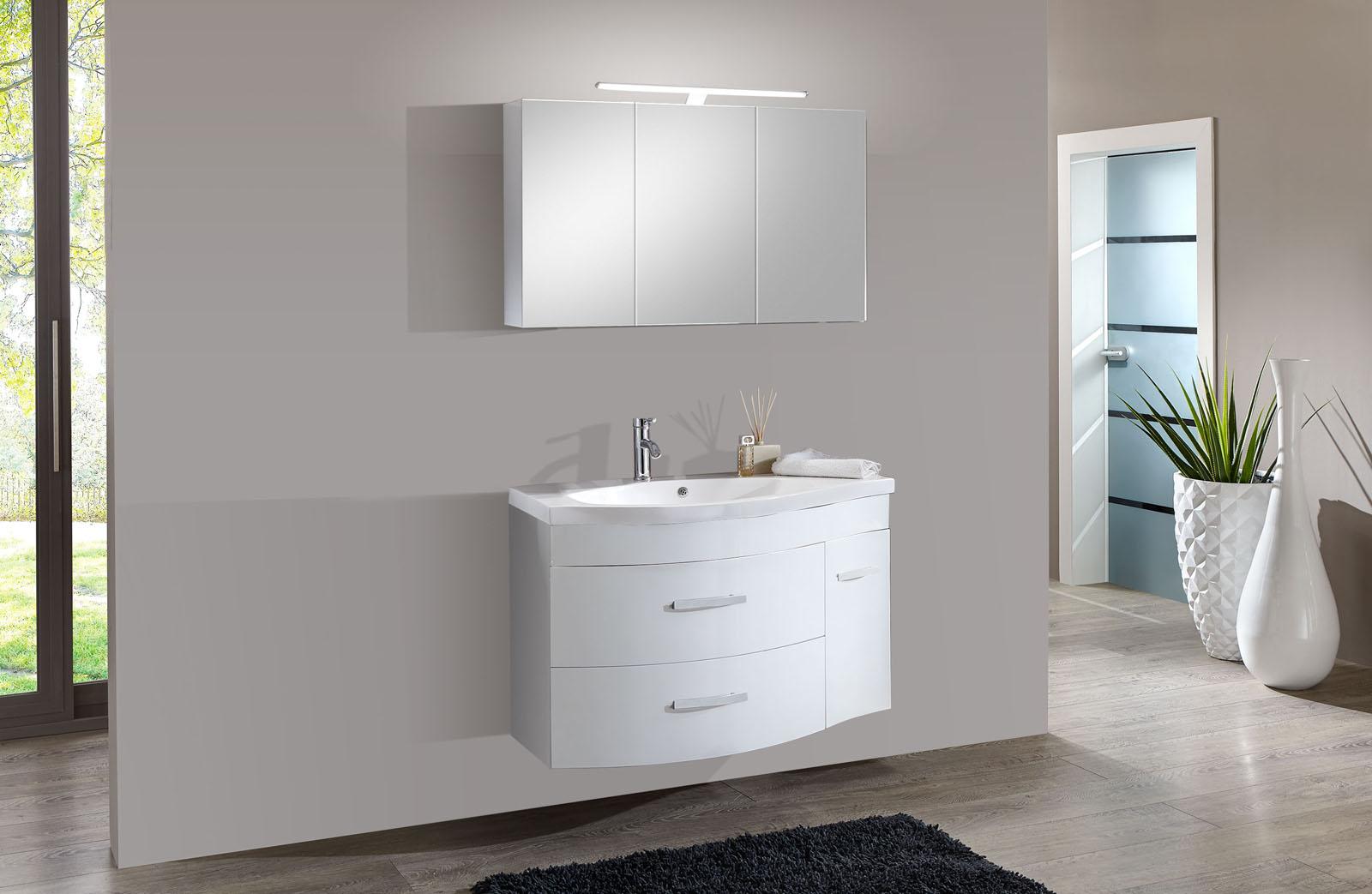 sam 2tlg badezimmer set hochglanz wei 110cm lugano. Black Bedroom Furniture Sets. Home Design Ideas