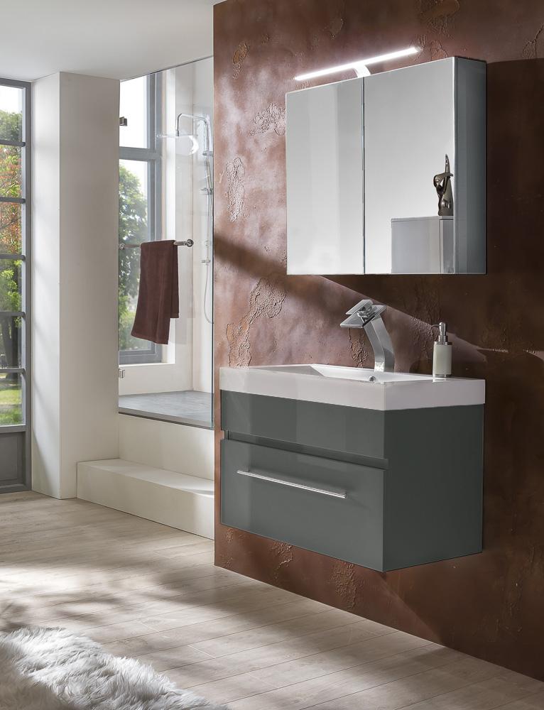 sam 2tlg badezimmer set spiegelschrank grau 80 cm lunar. Black Bedroom Furniture Sets. Home Design Ideas