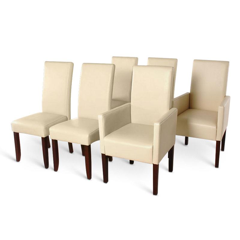 sam stuhl set aus recyceltem leder in creme kolonial 4. Black Bedroom Furniture Sets. Home Design Ideas