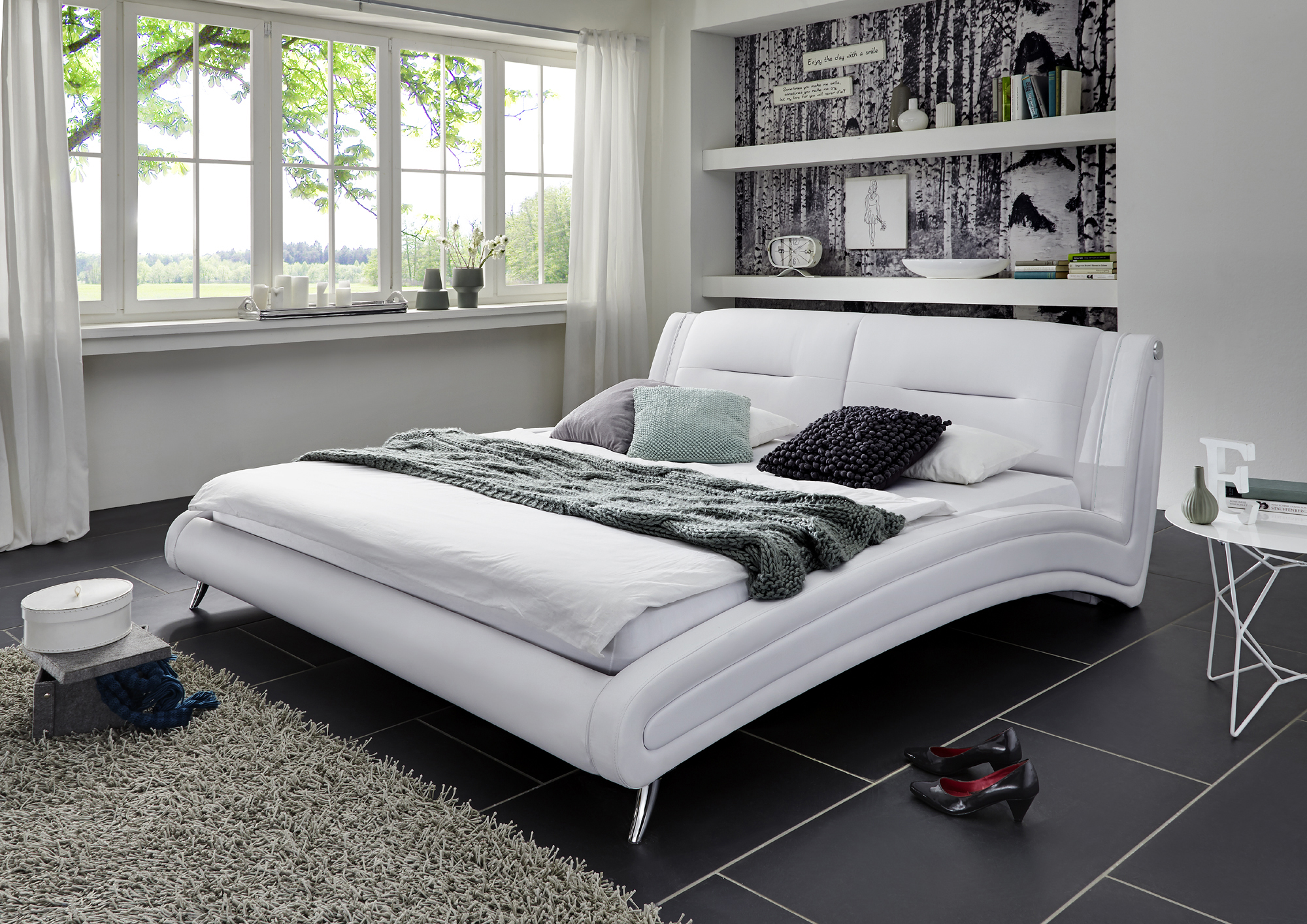 sam polsterbett doppelbett 140 x 200 cm wei swing. Black Bedroom Furniture Sets. Home Design Ideas
