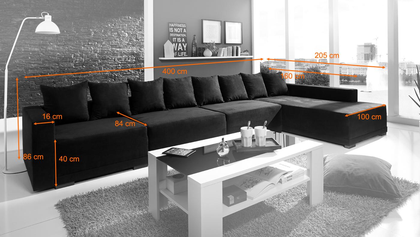 Sam wohnlandschaft ecksofa anima 405 x 205 cm schwarz for Sam wohnlandschaft