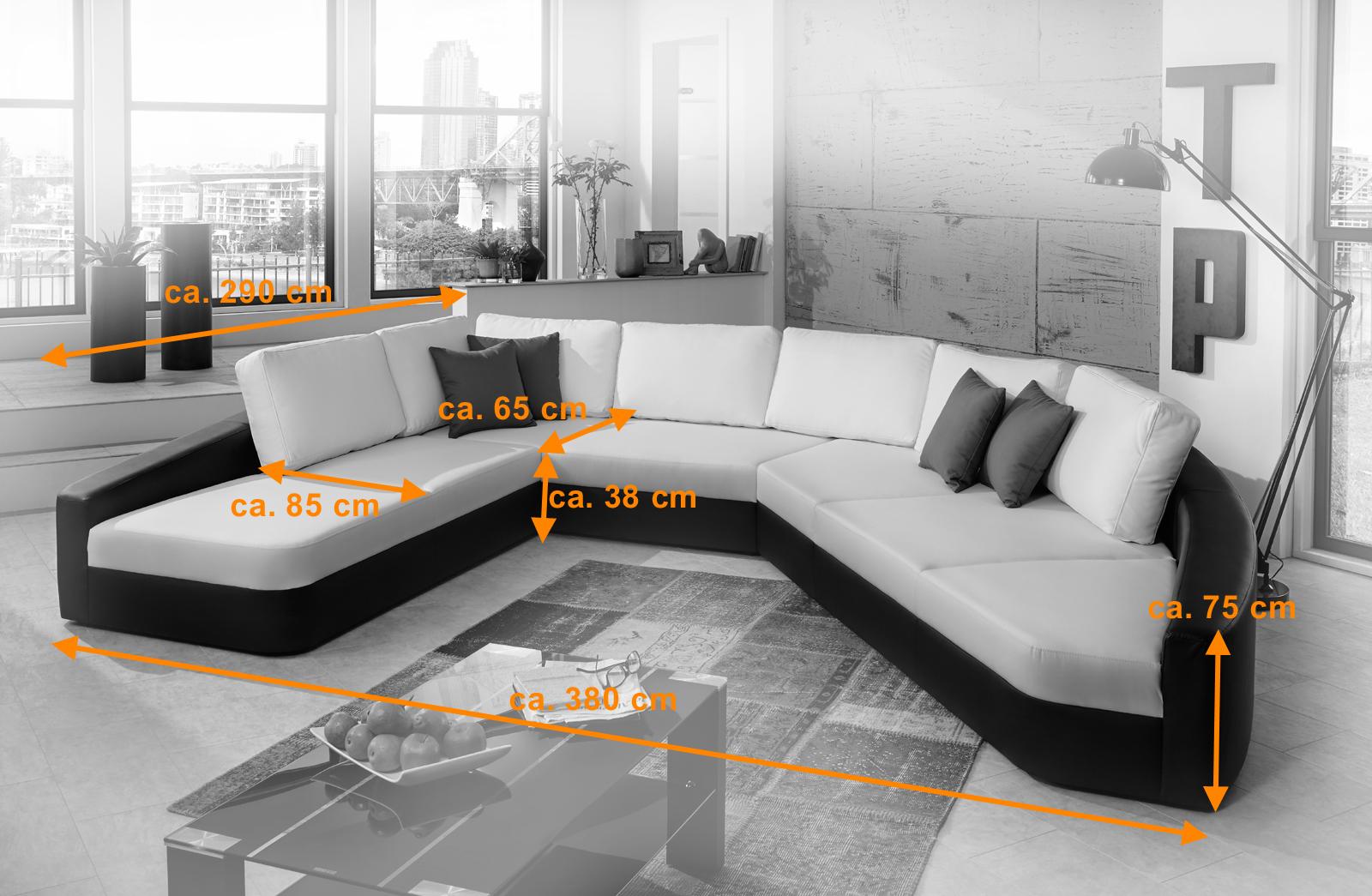 Sam sofa wei schwarz wohnlandschaft domencia 290 x 380 for Wohnlandschaft 290 cm breit
