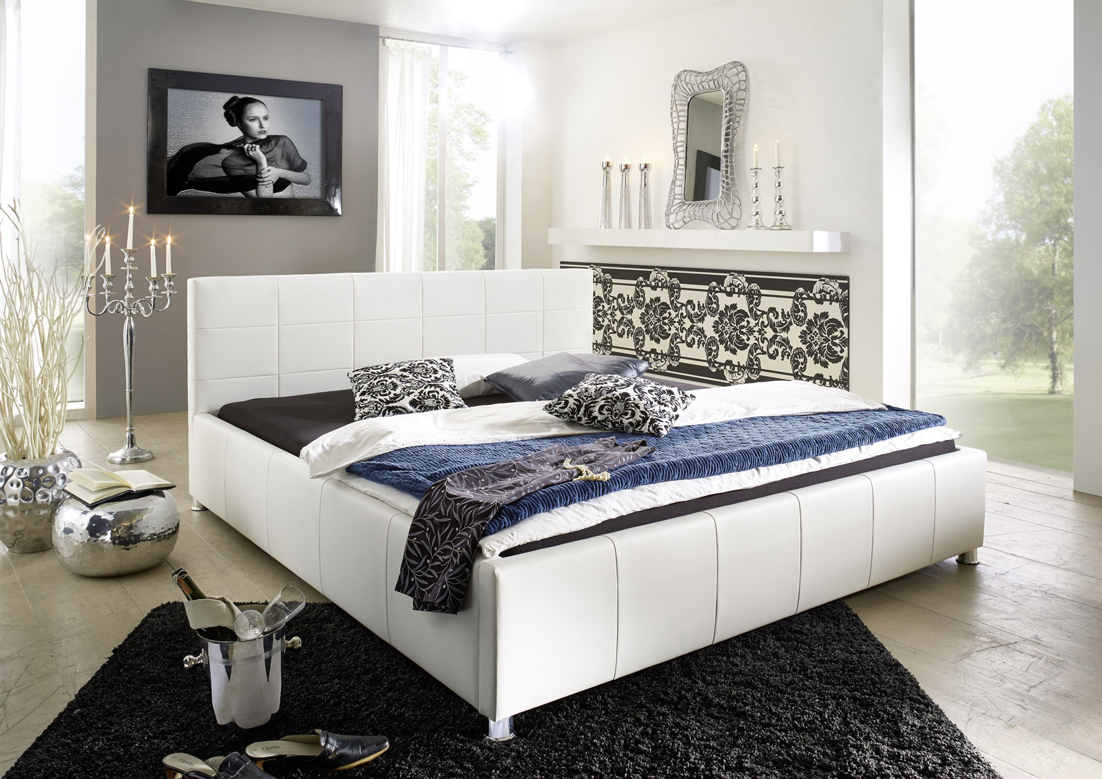 sam polster bett 140 x 200 cm wei kira auf lager. Black Bedroom Furniture Sets. Home Design Ideas