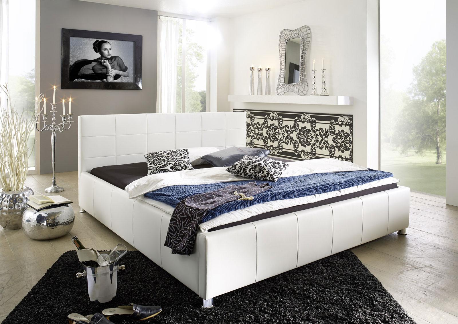 sam polster bett 140 x 200 cm wei kira auf lager. Black Bedroom Furniture Sets. Home Design Ideas