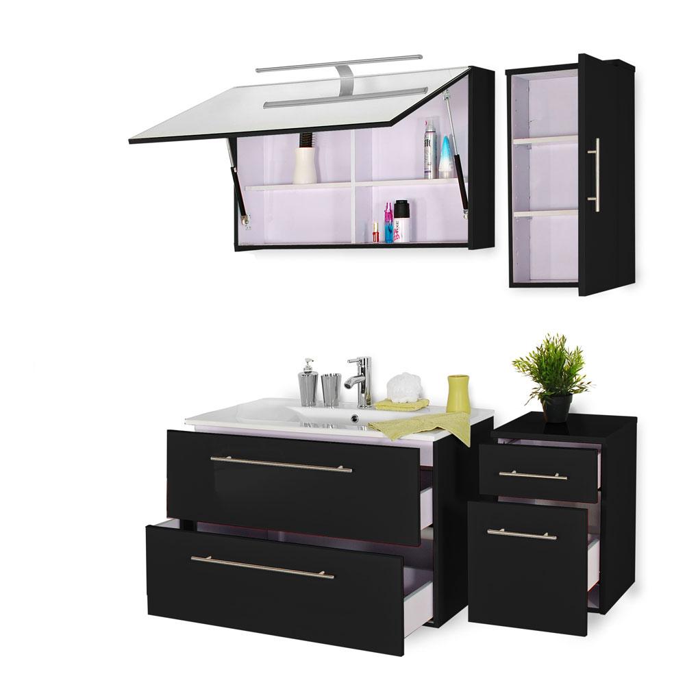 sam 4tlg badezimmer set schwarz 120 cm rom deluxe auf lager. Black Bedroom Furniture Sets. Home Design Ideas