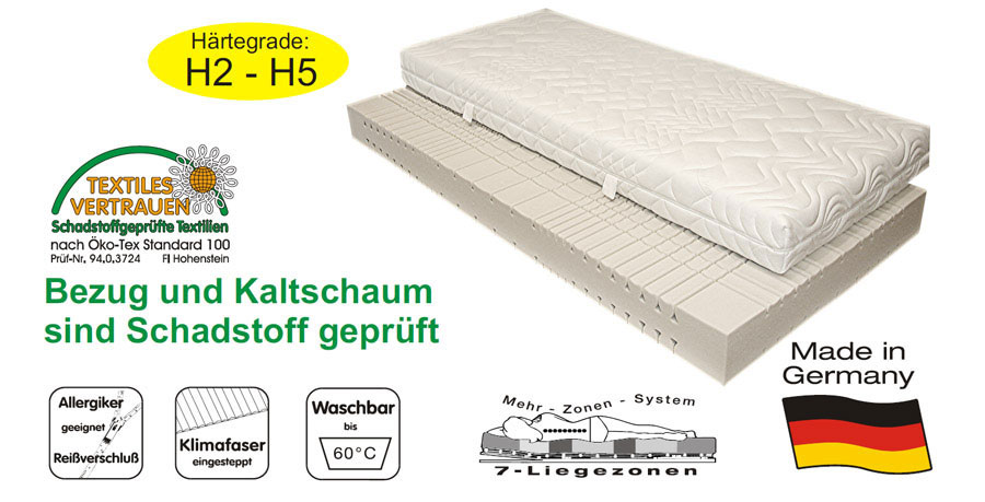 sam 7 zonen kaltschaum h3 matratze 160 x 200 cm komfort auf lager. Black Bedroom Furniture Sets. Home Design Ideas