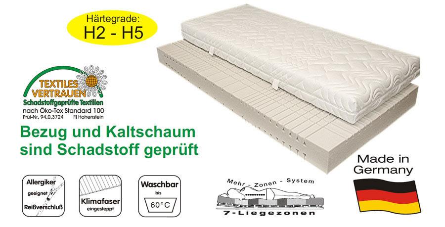 sam 7 zonen kaltschaum h4 matratze 80 x 200 cm komfort auf lager. Black Bedroom Furniture Sets. Home Design Ideas