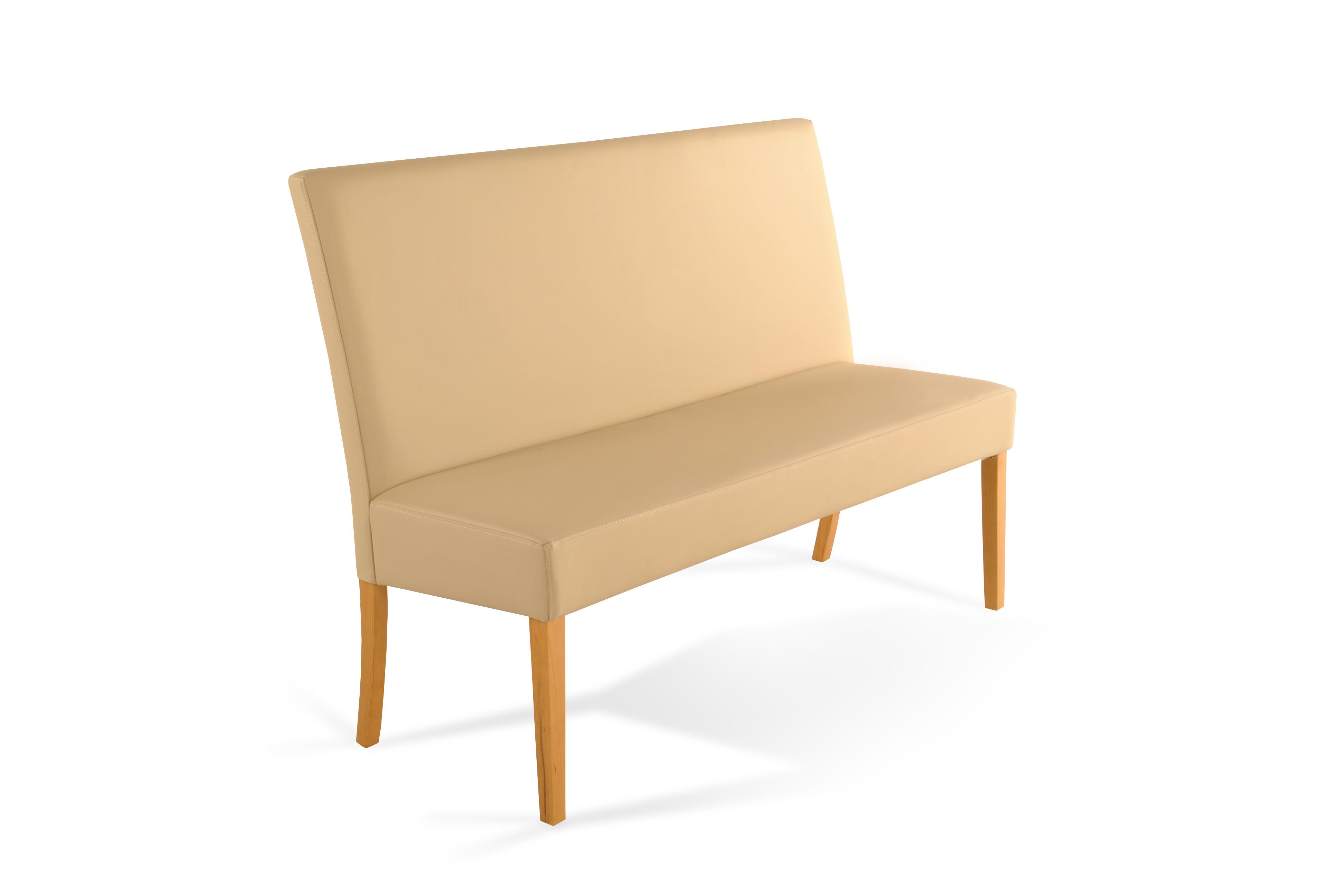 sam esszimmerbank mit lehne 160 cm creme recyceltes leder roma. Black Bedroom Furniture Sets. Home Design Ideas