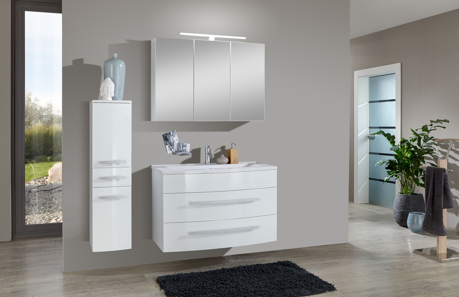 sam 3tlg badezimmer set hochglanz wei 100cm genf. Black Bedroom Furniture Sets. Home Design Ideas