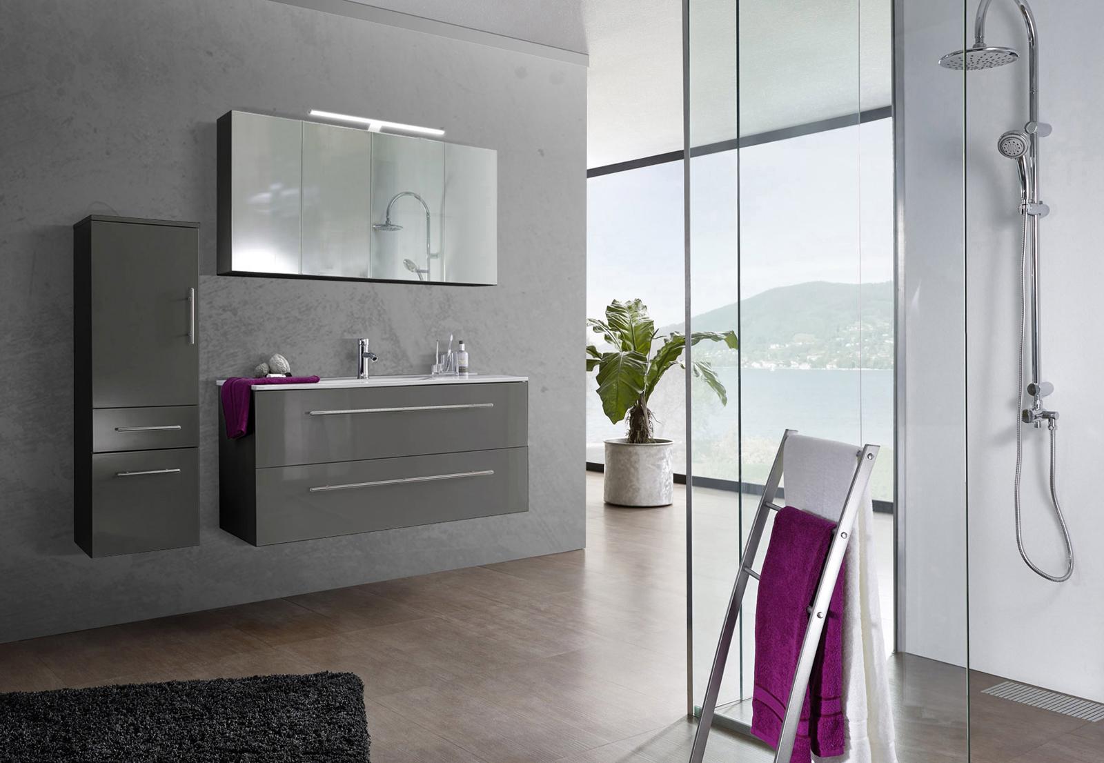 sam 3tlg badezimmer set spiegelschrank grau 120 cm verena demn chst. Black Bedroom Furniture Sets. Home Design Ideas