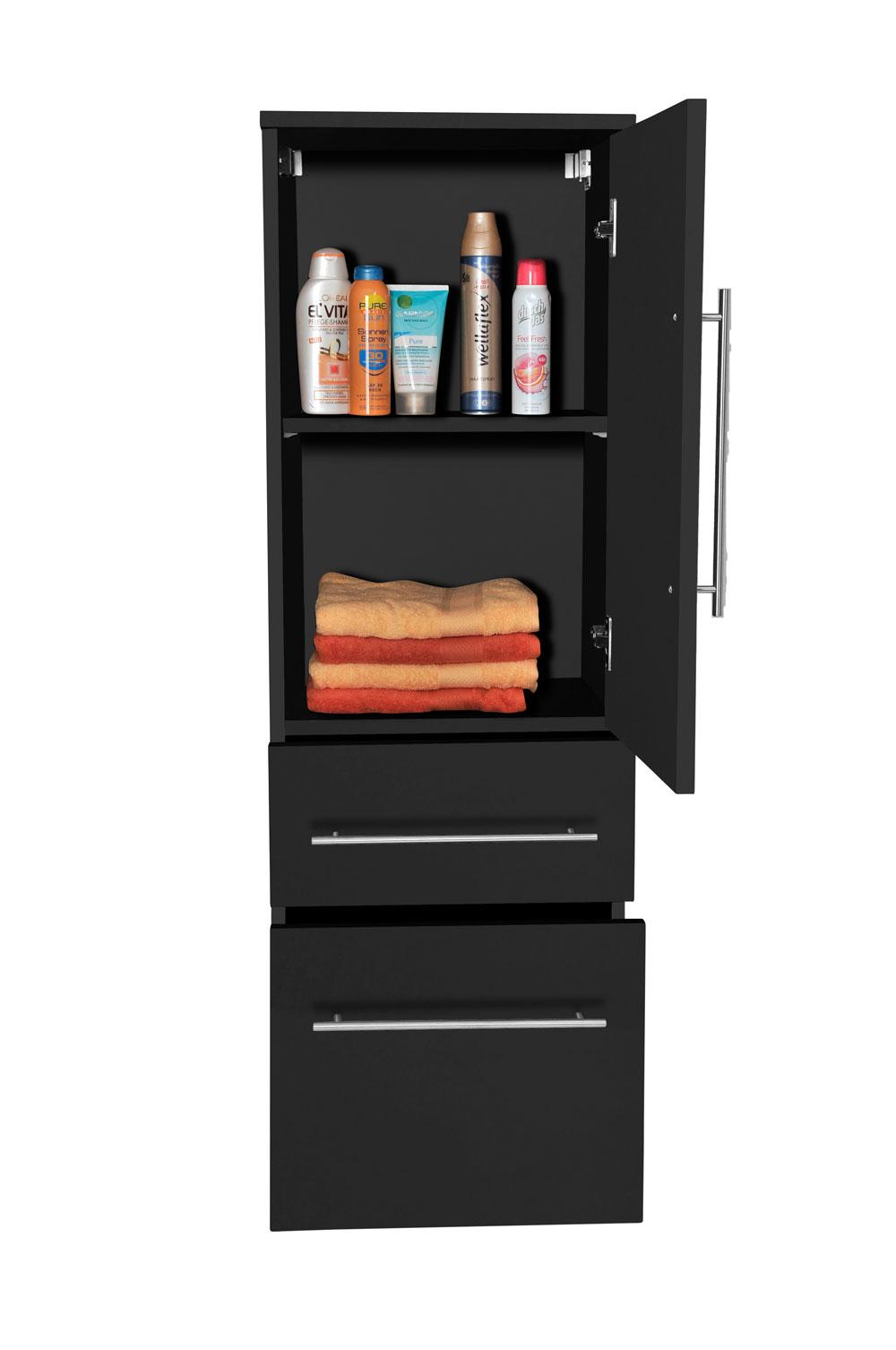 sam 3tlg badezimmer set spiegelschrank schwarz 80 cm verena. Black Bedroom Furniture Sets. Home Design Ideas