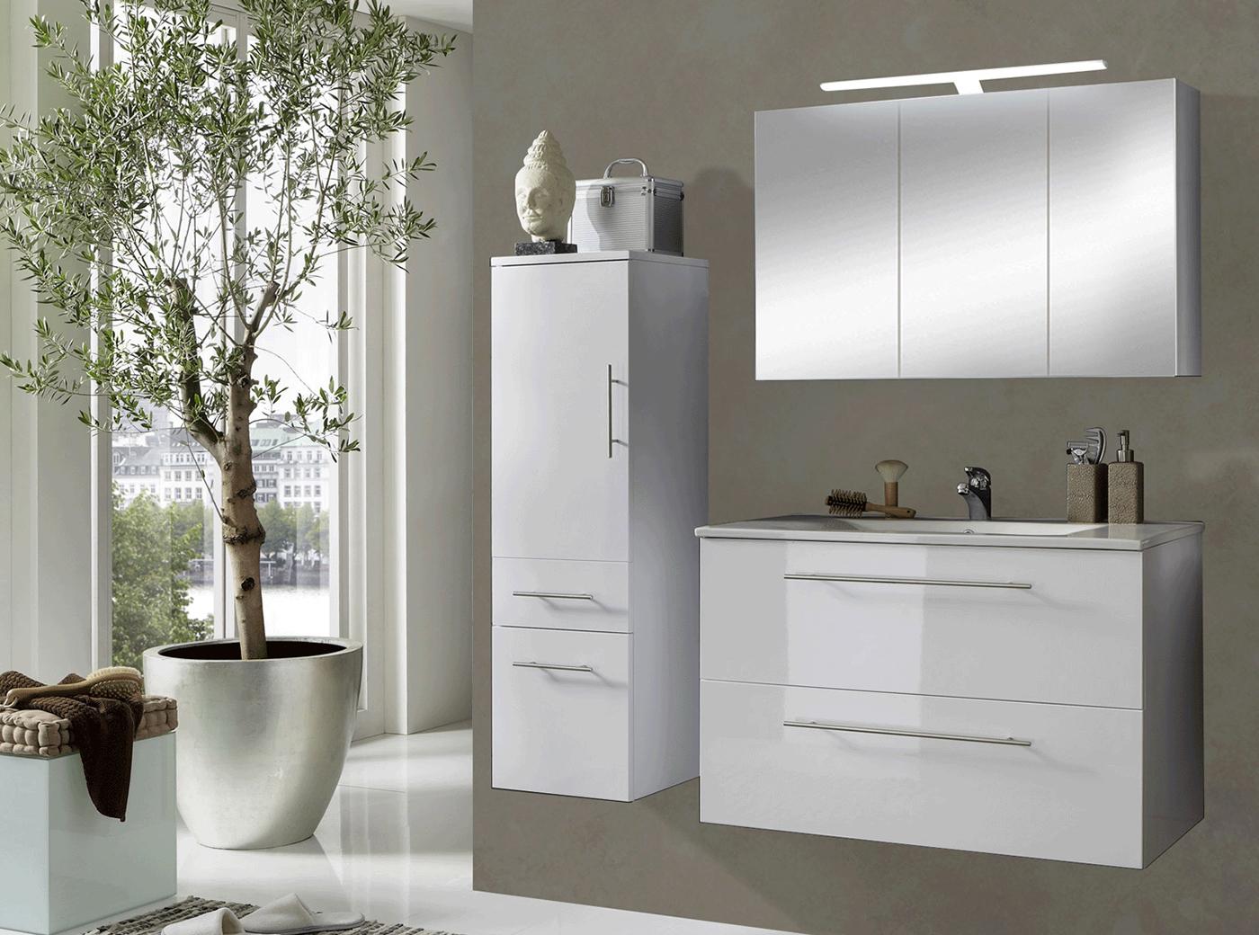 sam 3tlg badezimmer set wei 90 cm rimini g nstig. Black Bedroom Furniture Sets. Home Design Ideas
