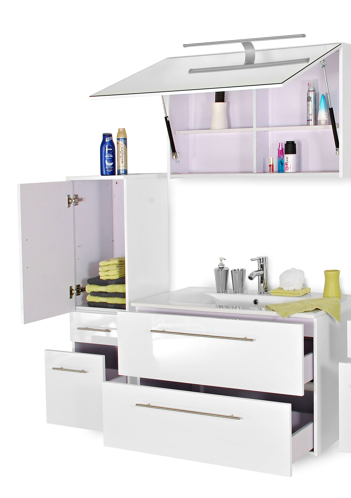 sam 3tlg badezimmer set wei 90 cm rimini deluxe. Black Bedroom Furniture Sets. Home Design Ideas
