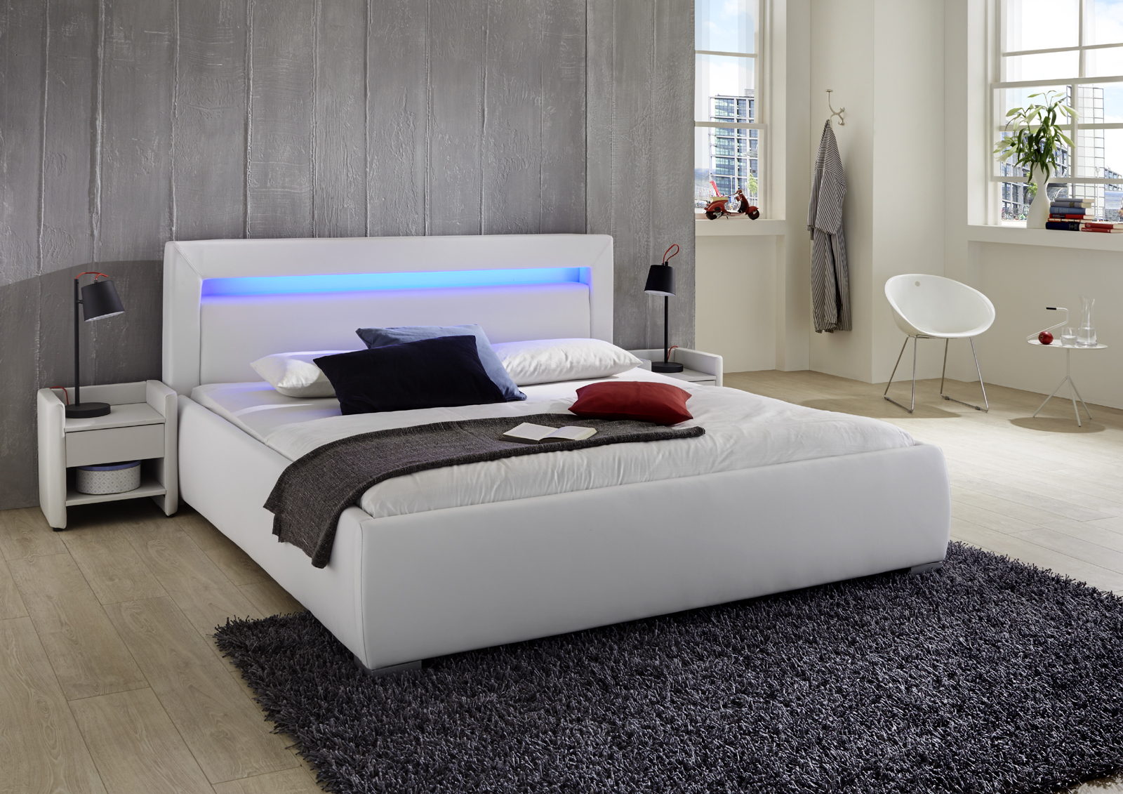 sam polsterbett 160 cm wei lumina led g nstig. Black Bedroom Furniture Sets. Home Design Ideas